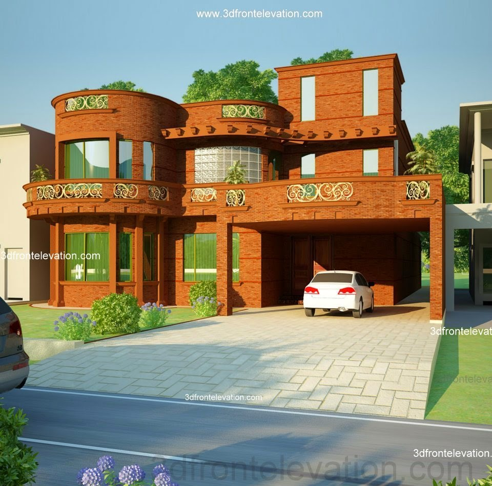 3d front 5 10 marla house plan 3d front for Home garden design in pakistan