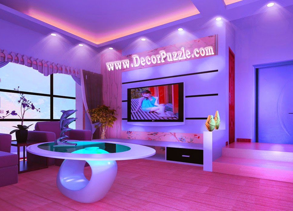 Top ideas for led ceiling lights for false ceiling designs for Living room designs pop