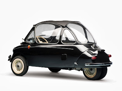 Aircraft designer Ernst Heinkel saw the Iso Isetta, and decided that he could do one better, using aircraft principles and making it lighter yet faster with a smaller engine. In 1956 he introduced this wonderful 3 wheeler car, the Kabine 153. So cute so bubbly.