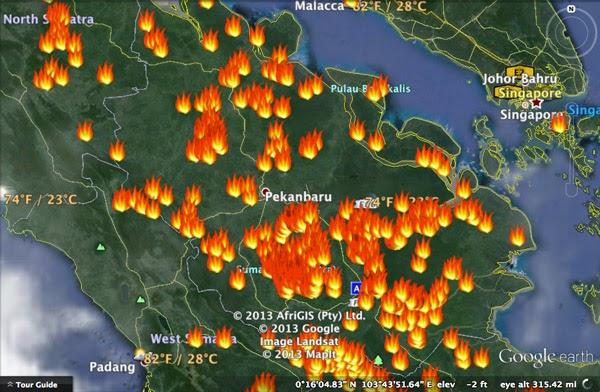 Gambar Titik Api Kebakaran Riau Sumatera 2014 Bahaya Asap Bencana Nasional