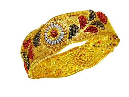 Pearl Studded Gold Bangles