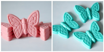 Hand-made blue and pink butterfly chocolates