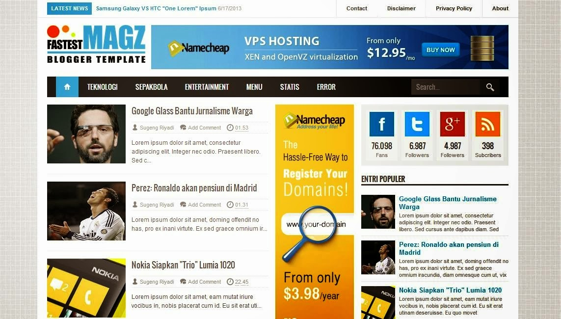 Download Fastest Magz Blogger Template - Mas Sugeng