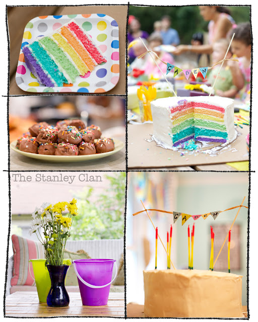 heart-shaped ainbow cake first birthday party