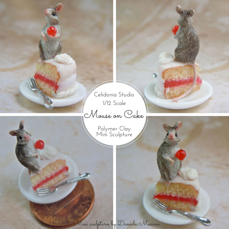 Mouse on Cake 1/12 - Polymer Clay Mini Sculpture by Daniela Messina
