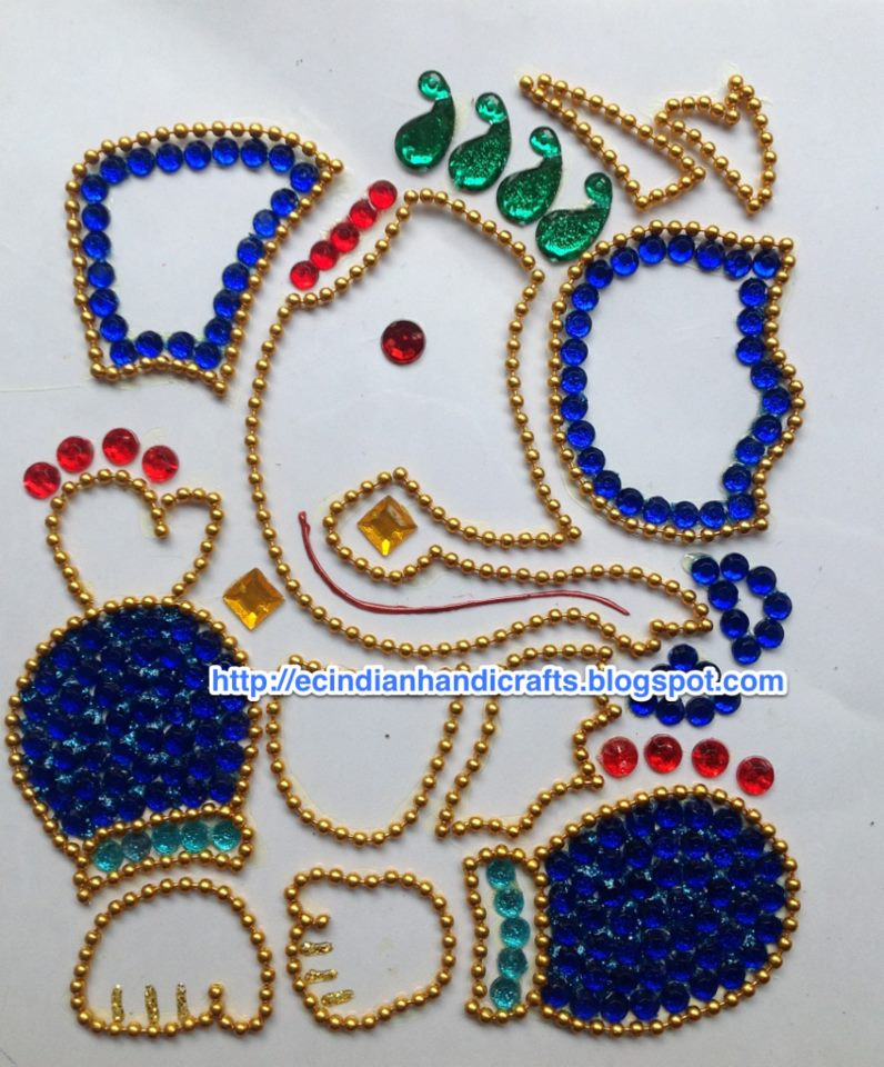 EC Indian Handicrafts' Marapachirubber Doll Decorations Kundan Interesting Decorative Rangoli Designs With Stones And Kundans
