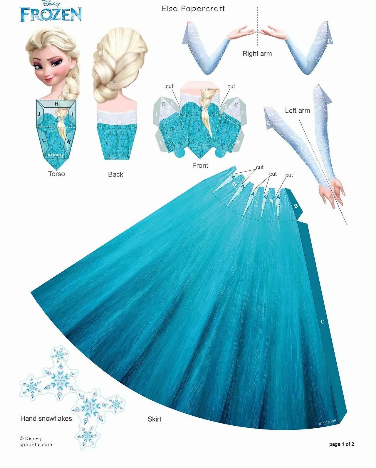 """Bonecas Anna, Elsa e Olaf do Filme """"Frozen"""" para Imprimir e Montar"""