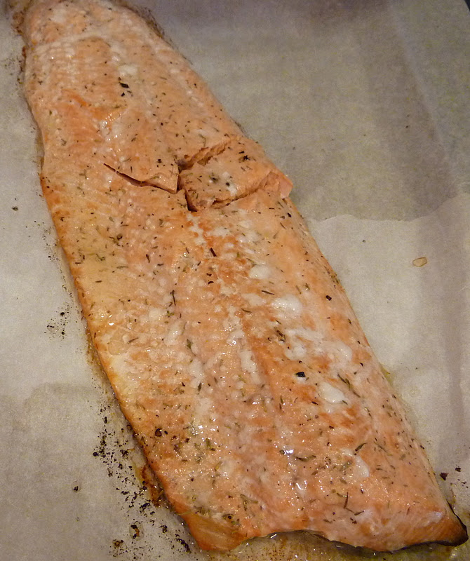 Baked salmon just out of the oven.