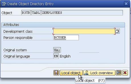 Creating a Table in SAP ABAP