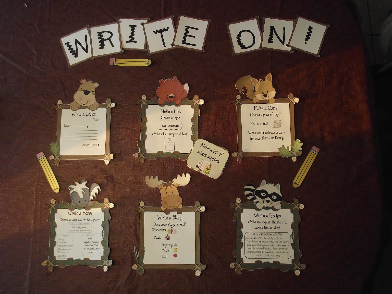 Classroom Writing Ideas ~ First grade o w l s camping forest theme classroom ideas