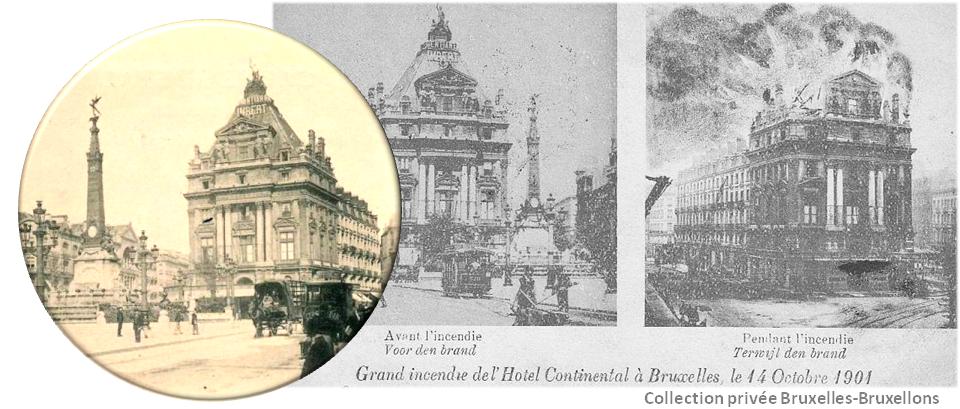 Place de Brouckère (1901) - Incendie de la toiture de l'hôtel Continental - Bruxelles-Bruxellons