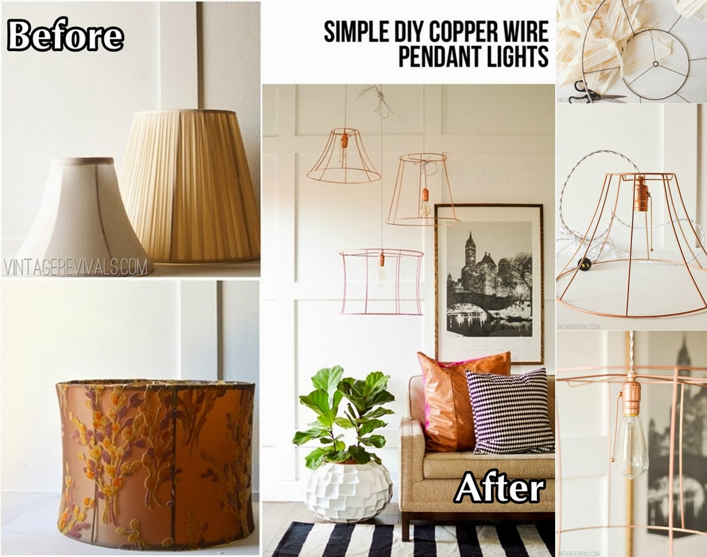 Upcycled copper wire pendant lights from lampshades diy craft projects upcycled copper wire pendant lights from lampshades keyboard keysfo Image collections