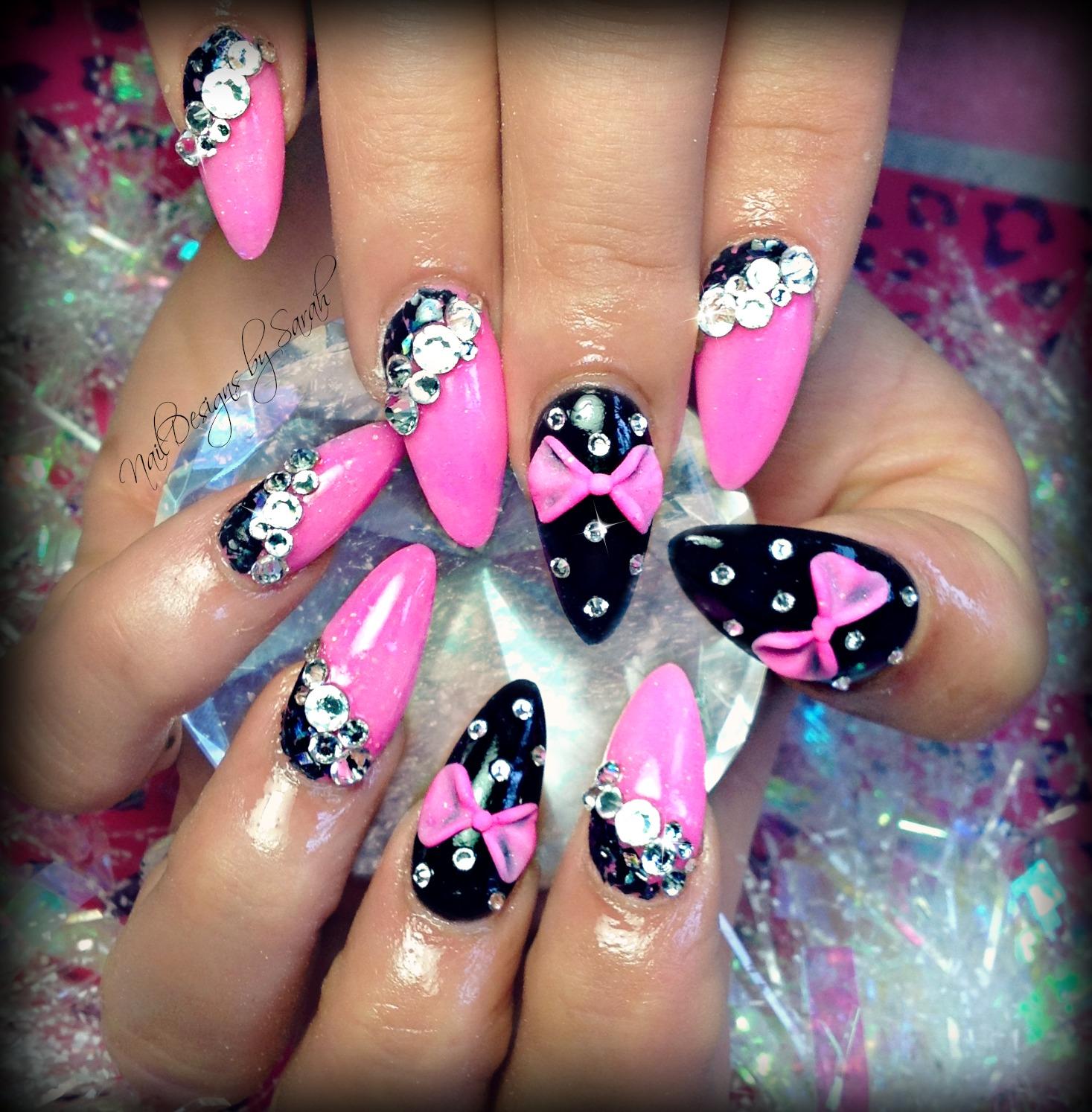 pointy nails with 3d bow wwwimgkidcom the image kid