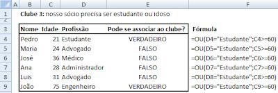 Exemplo de Fórmula OU - Excel