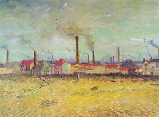 L'amélioration de l'efficacité énergétique au XIXe siècle a entrainé  une augmentation de la consommation de charbon.  (Usine d'Asnières, Vincent Van Gogh)