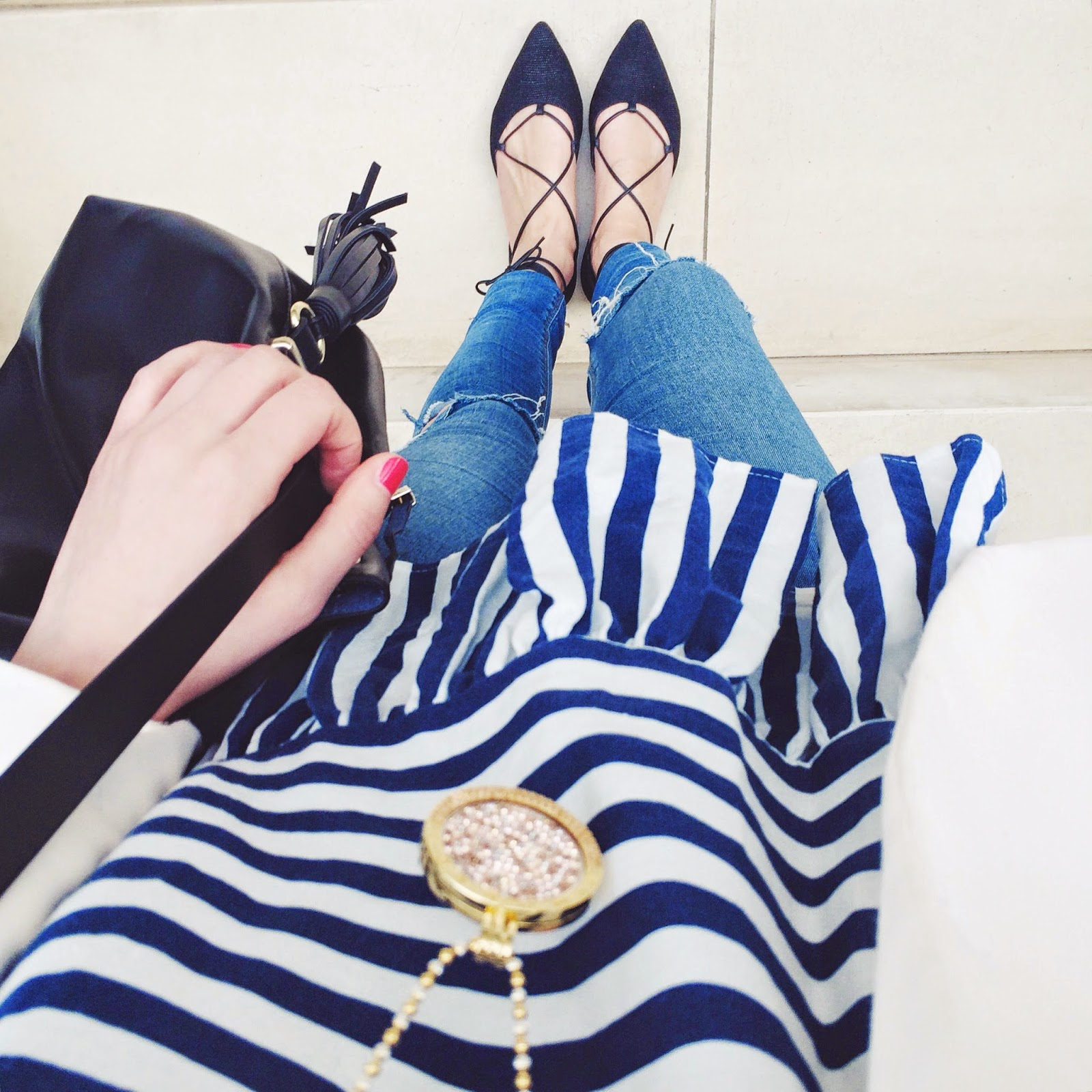 laceup flats, russell and bromely flats, striped top, stripe top, duffle bag, bucket bag, fwis, opsh, shopping made easy