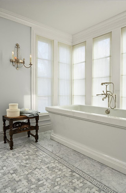 soothing master bathroom with gray and white tile floor stand alone tub design