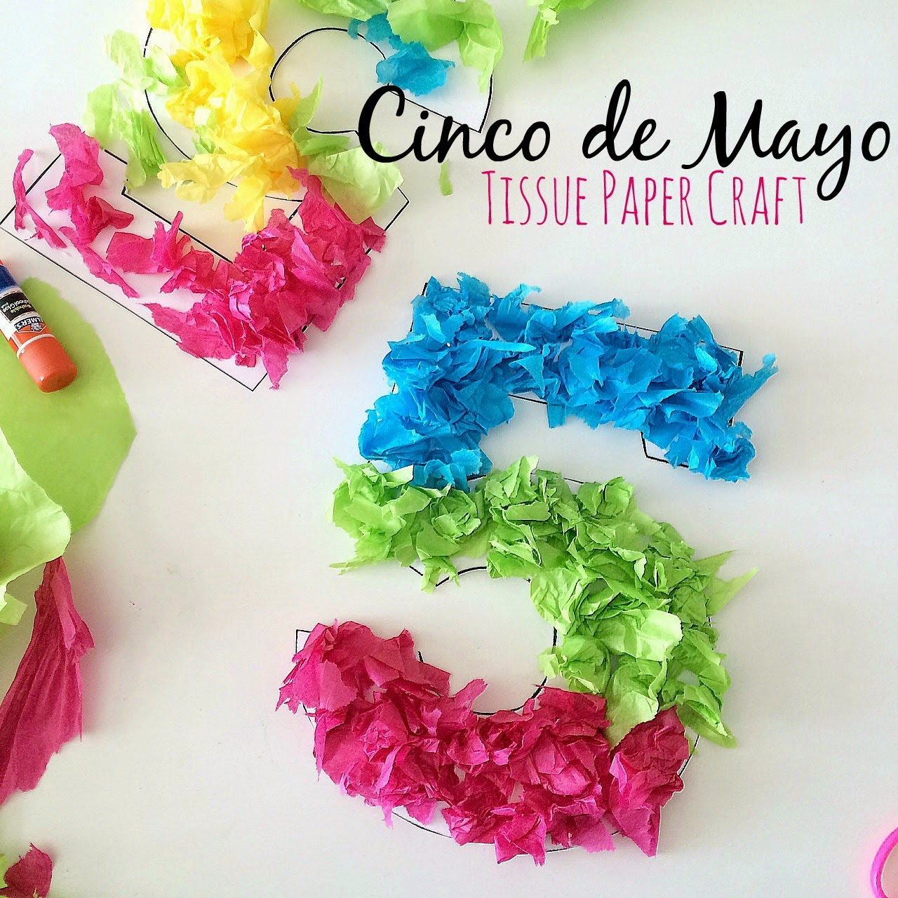 Blue skies ahead cinco de mayo tissue paper craft for Tissue paper for crafts