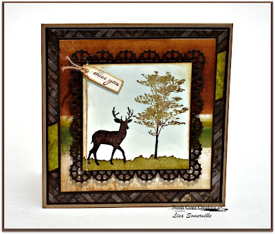 North Coast Creations Stamp sets: Deer Silhouette Greetings, Our Daily Bread Designs Custom Dies: Layered Lacey Squares, Mini Tags, Clouds and Raindrops