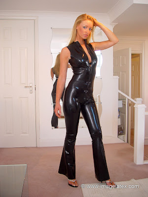 Hot Blonde Lauren in Skin Tight Black Latex Catsuit