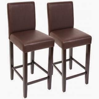 Taburete PRESTO marrón con asiento en polipiel y respaldo
