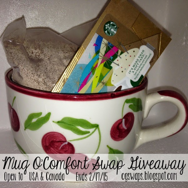 Enter the Mug O'Comfort Swap Giveaway for a chance to win this cute mug, a $10 Starbucks Gift Card, and Instant Cappuccino mix!