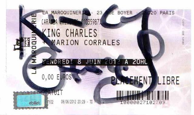 Le billet dédicacé du concert de King Charles