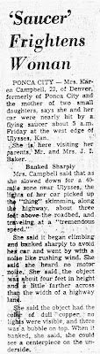 Saucer Frightens Woman - Oklahoma City Times (1) 9-16-1964