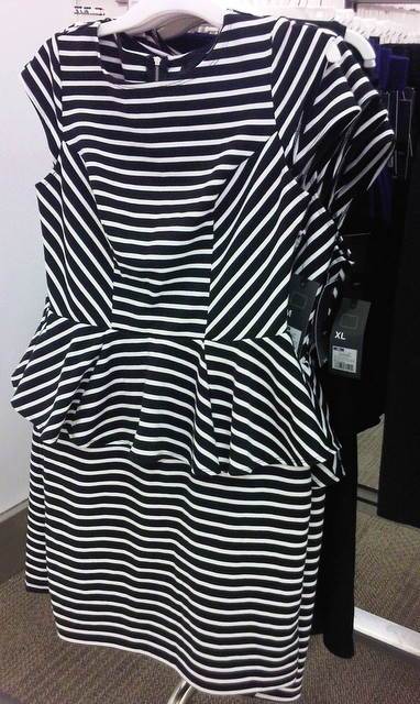 Mossimo Women's Stripe Peplum Dress  BlackWhite