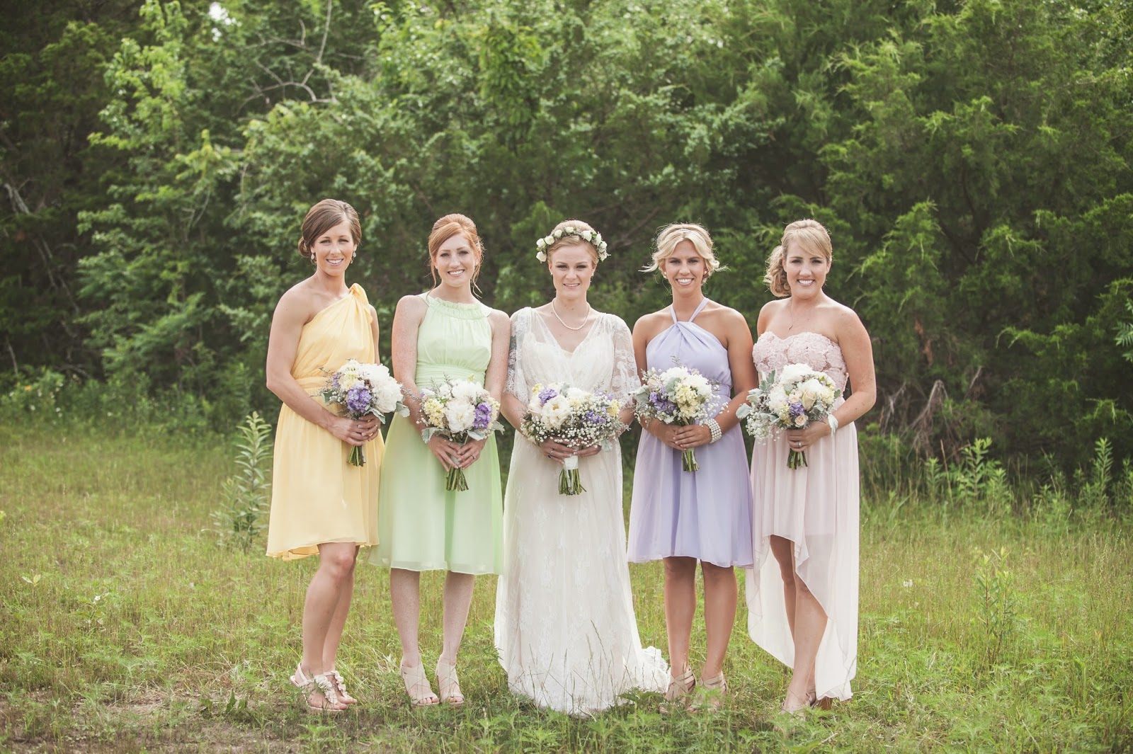 mismatched pastel bridesmaid dresses