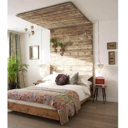 Arte y arquitectura madera reciclada bancos mesas y - Cabecero madera reciclada ...