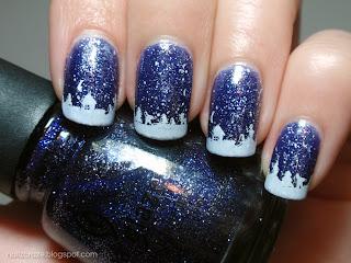 china glaze skyscraper blue glitter winter nails snow