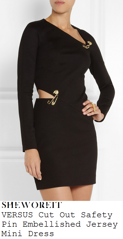 sam-faiers-black-cut-out-safety-pin-detail-long-sleeve-bodycon-mini-dress-disaronno-versace-launch