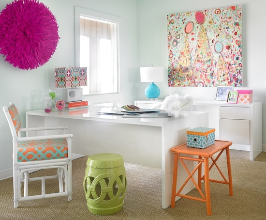 teen girls room, white modern desk, bright pops of color and art