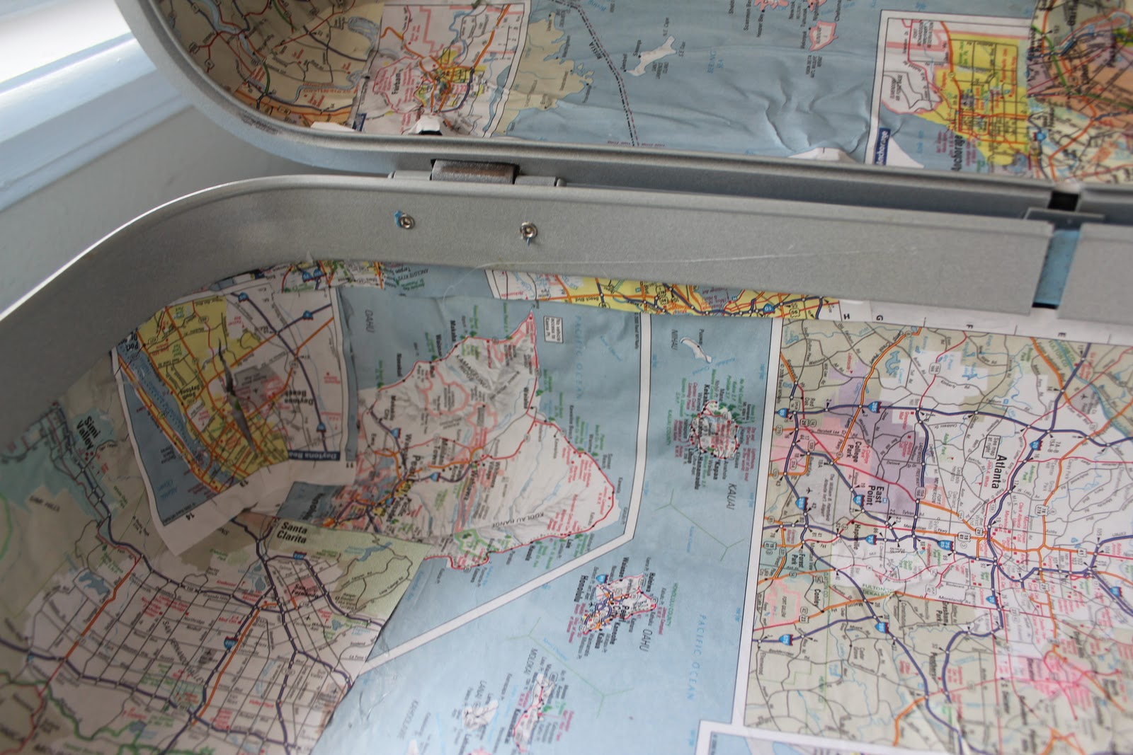 meg   andy: DIY- Vintage Suitcase Makeover pt 2: map lining