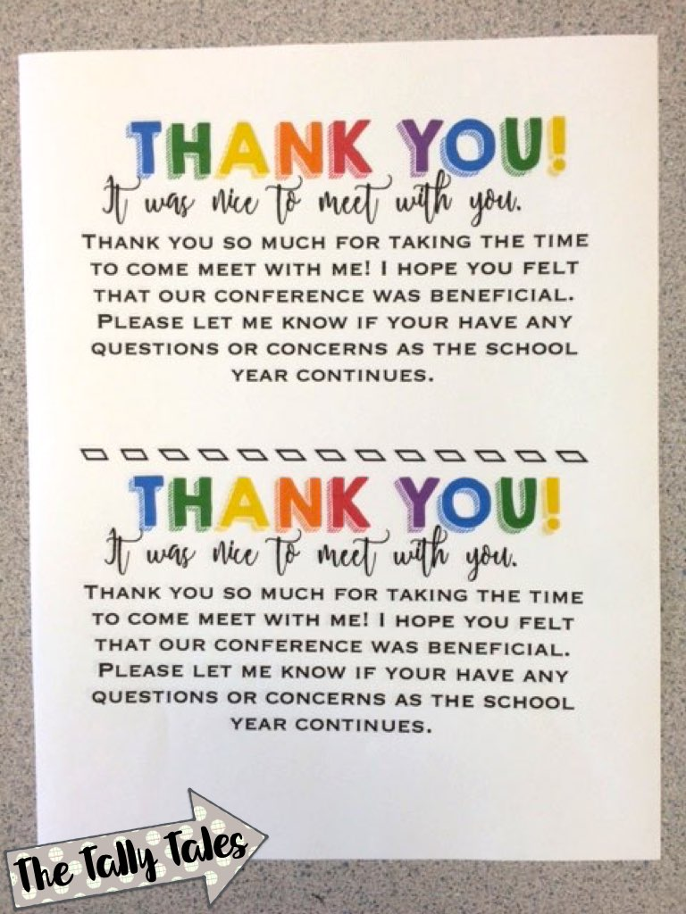 Thank You Note To Parents   Tally Tales