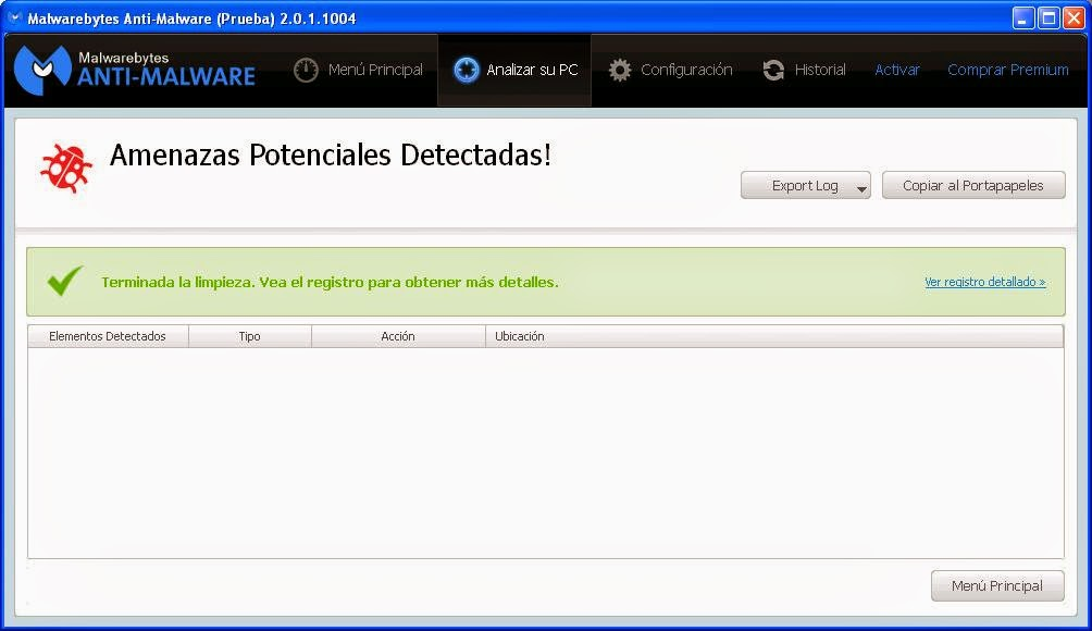 Malwarebytes limpio