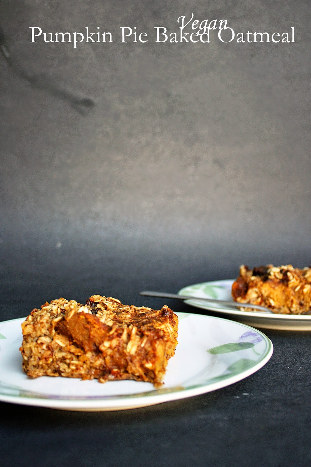 vegan leftover pumpkin pie baked oatmeal
