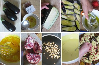 Gegrillte Auberginen mit Safranjoghurt und Granatapfelkernen - Zubereitung