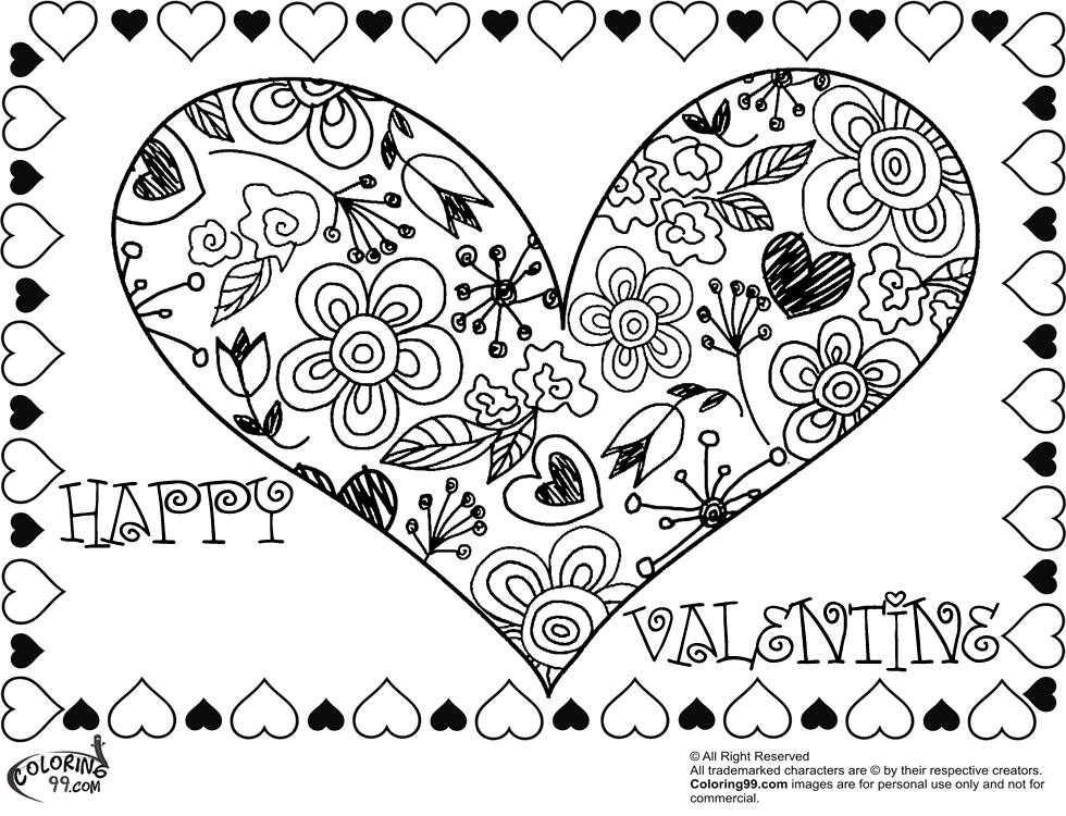 Valentine heart coloring pages team colors for Valentines coloring page
