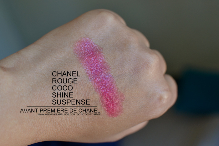 Rouge Coco Shine Lip Color Suspense 80 Avant Premiere de Chanel Makeup Collection 2013 Indian Beauty Blog Darker Skin Photos Swatch Review FOTD