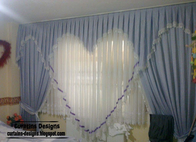 romantic curtain design ideas blue heart style girls bedroom curtain ideas - Drapery Design Ideas