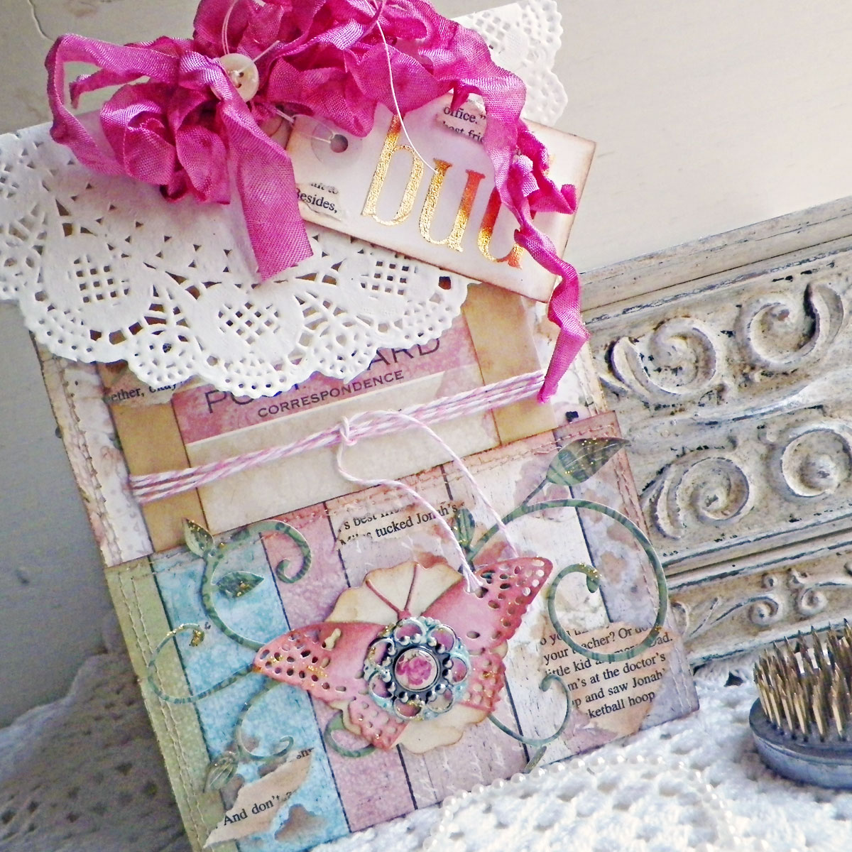 Pocket Tag Tutorial by Lisa Novogrodski for BoBunny using the Garden Journal Collection 01