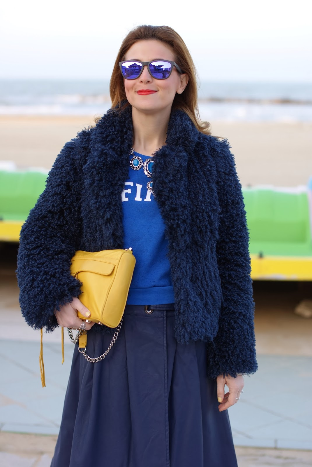 Blue faux fur jacket, yellow Rebecca Minkoff M.A.C. clutch, Fashion and Cookies, fashion blogger