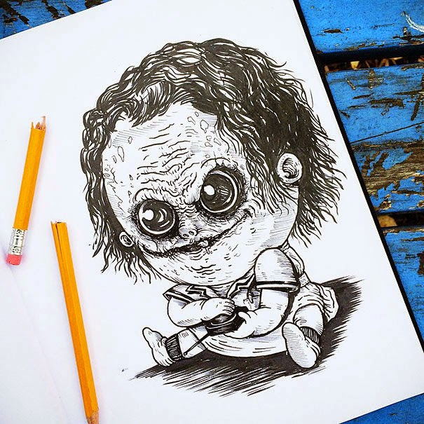 02-Nurse-Joker-Alex-Solis-Baby-Terrors-Drawings-Horror-Movie-Villains-www-designstack-co