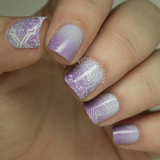 Purple Gradient Nail Art With Stamping