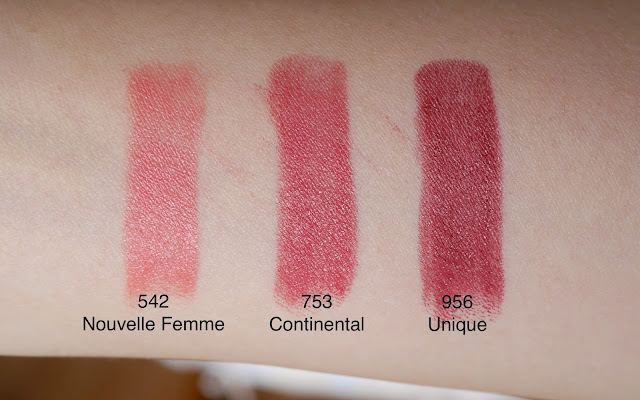 Rouge Dior lipstick 542 nouvelle femme 753 continental 956 unique review swatch