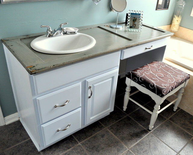 Ready Made Countertops : Old shutter becomes bathroom countertop cleverly inspired
