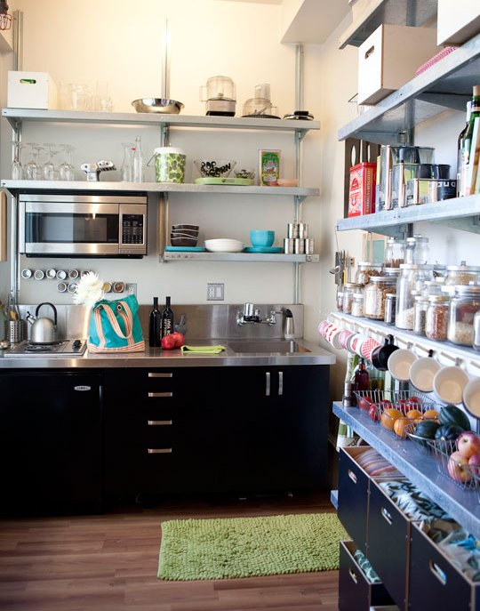 Stainless steel kitchen shelves for Open shelving kitchen ideas