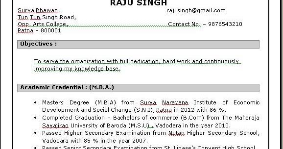 MBA HR Resume in Doc